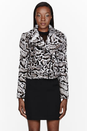 Christopher Kane Grey Snow Leopard Calf-hair Biker Jacket for women | SSENSE