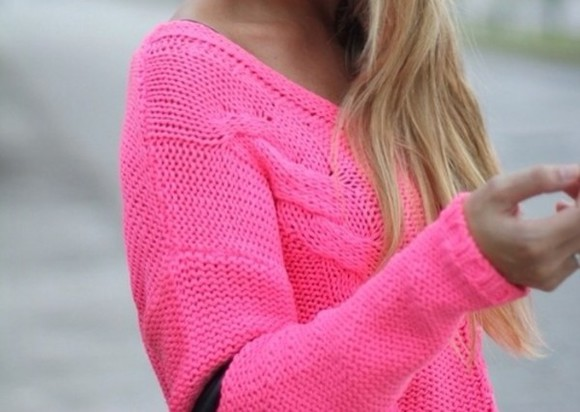 knit cable knit neon girly hot pink hot sweater pink sweater