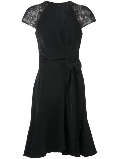 Tadashi Shoji dress wrap dress women spandex lace cotton black