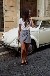 skirt,tumblr,gingham,mini skirt,wrap skirts,shoes,slide shoes,t-shirt,white t-shirt,bag,gingham skirt