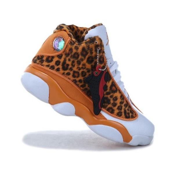 Kids Air Jordan 13 Leopard Khaki White - Polyvore