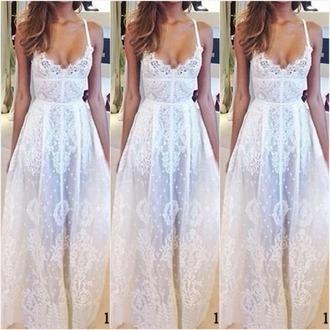 dress pretty casual white dress maxi dress cute cute dress lace dress white lace dress beautiful vintage wedding dress wedding dress