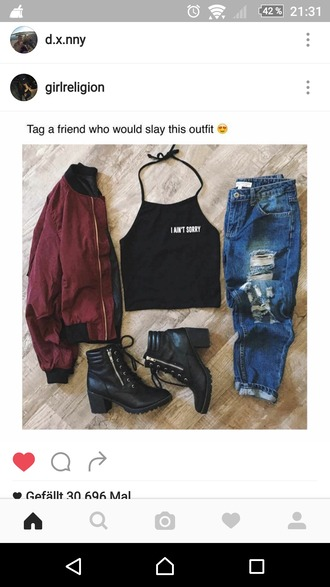 shoes ankle boots black boots instagram black crop top ripped jeans jacket bomber jacket burgundy jacket black leather high boots slay cute