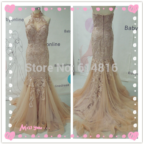 Aliexpress.com : Buy New Arrival High Quality Real Sample Wedding Dresses 2014 High Neck Champagne Lace Appliques Mermaid Bridal Gown from Reliable dress up casual outfit suppliers on Suzhou Babyonlinedress Co.,Ltd