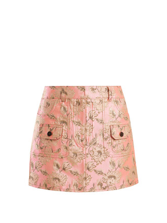 skirt mini skirt mini floral gold pink