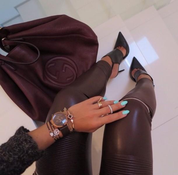 shoes black shoes black heels pointed toe leggings leather biker leggings