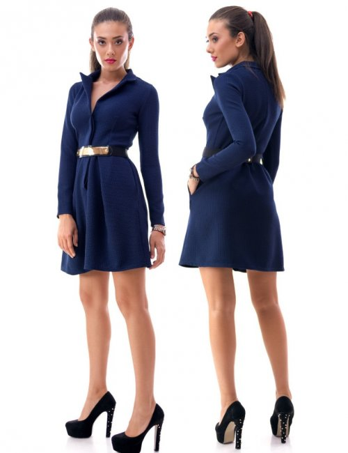 Lady's Elegant Belted Tricot Side Pockets A-Line Dress