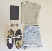 shirt,clothes,shorts,jacket,shoes,t-shirt,john lennon,hippie glasses,vans,book,sunglasses,grey t-shirt,light blue denim,crop tops,glasses,converse,short,grey,plain shirt,notebook,High waisted shorts,denim,hipster,summer,black,jeans,grey shirt and denim shorts,brown and black,demin,blouse,corti,top,blue jeans,tumblr,cute,trendy,fashion,style,apparel,outfit,accessories,sweater,bag