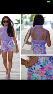 top,chiffon bow cut out top blouse,shorts