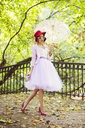 macademian girl,blogger,jacket,top,bag,jewels,sunglasses,tulle skirt,red heels