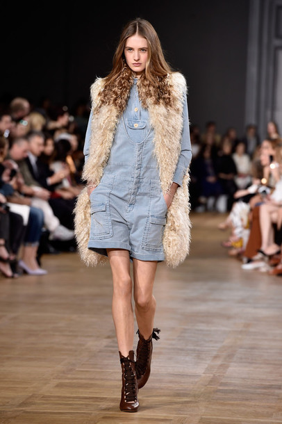 romper denim shorts top fur vest fur fashion week 2015