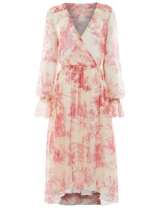 dress print dress rose print silk pink