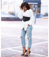 belt,tumblr,corset belt,shirt,white shirt,denim,jeans,blue jeans,ripped jeans,pumps,high heel pumps,pointed toe pumps,shoes
