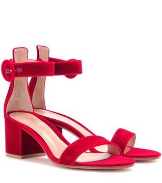 sandals velvet red shoes