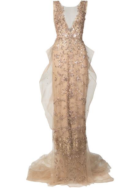Marchesa gown women nude silk dress