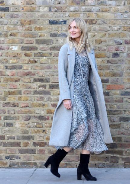 blame it on fashion blogger black boots grey coat chiffon dress