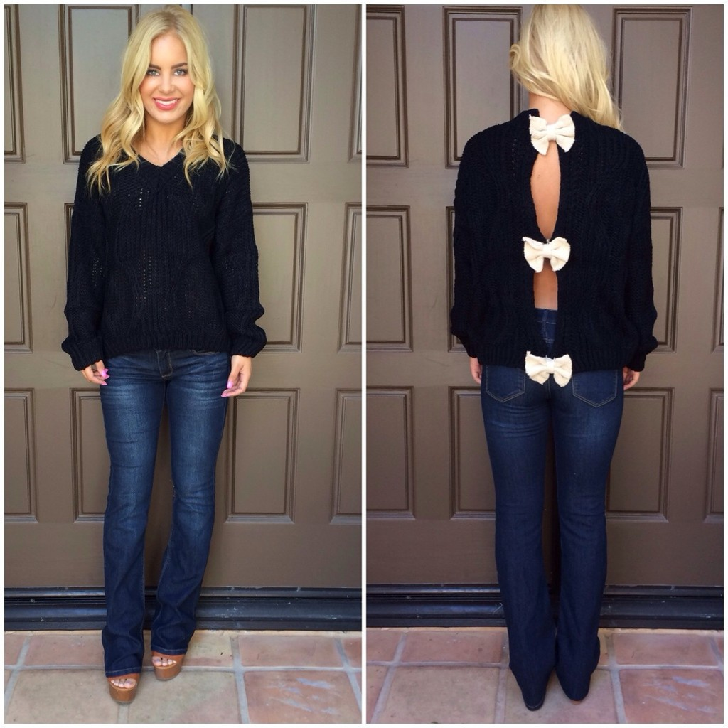 Black open back bow knit sweater