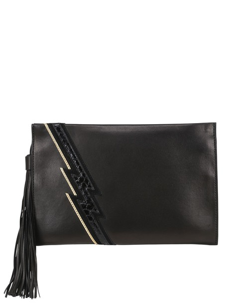 Roberto Cavalli leather clutch python clutch leather gold black bag