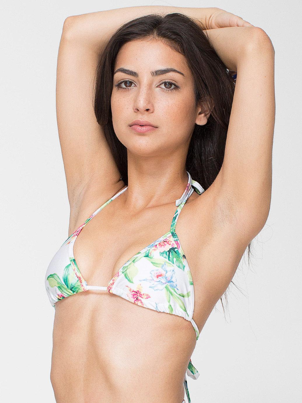 Flamingo print nylon tricot triangle bikini top