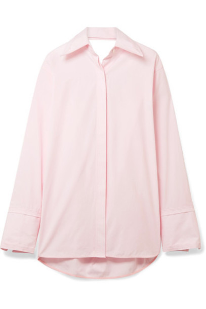 Helmut Lang shirt oversized pastel cotton pink pastel pink top
