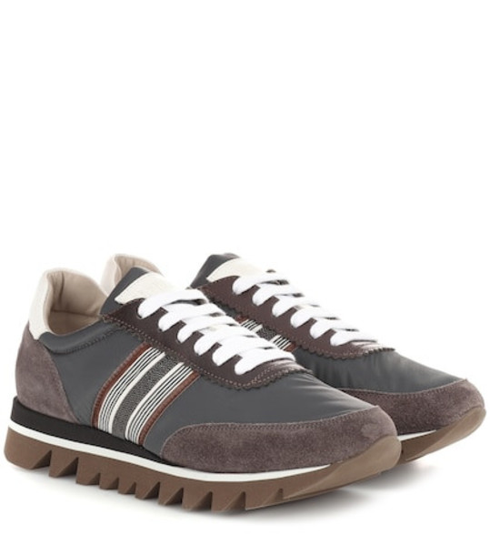 Brunello Cucinelli Embellished suede-trimmed sneakers in brown