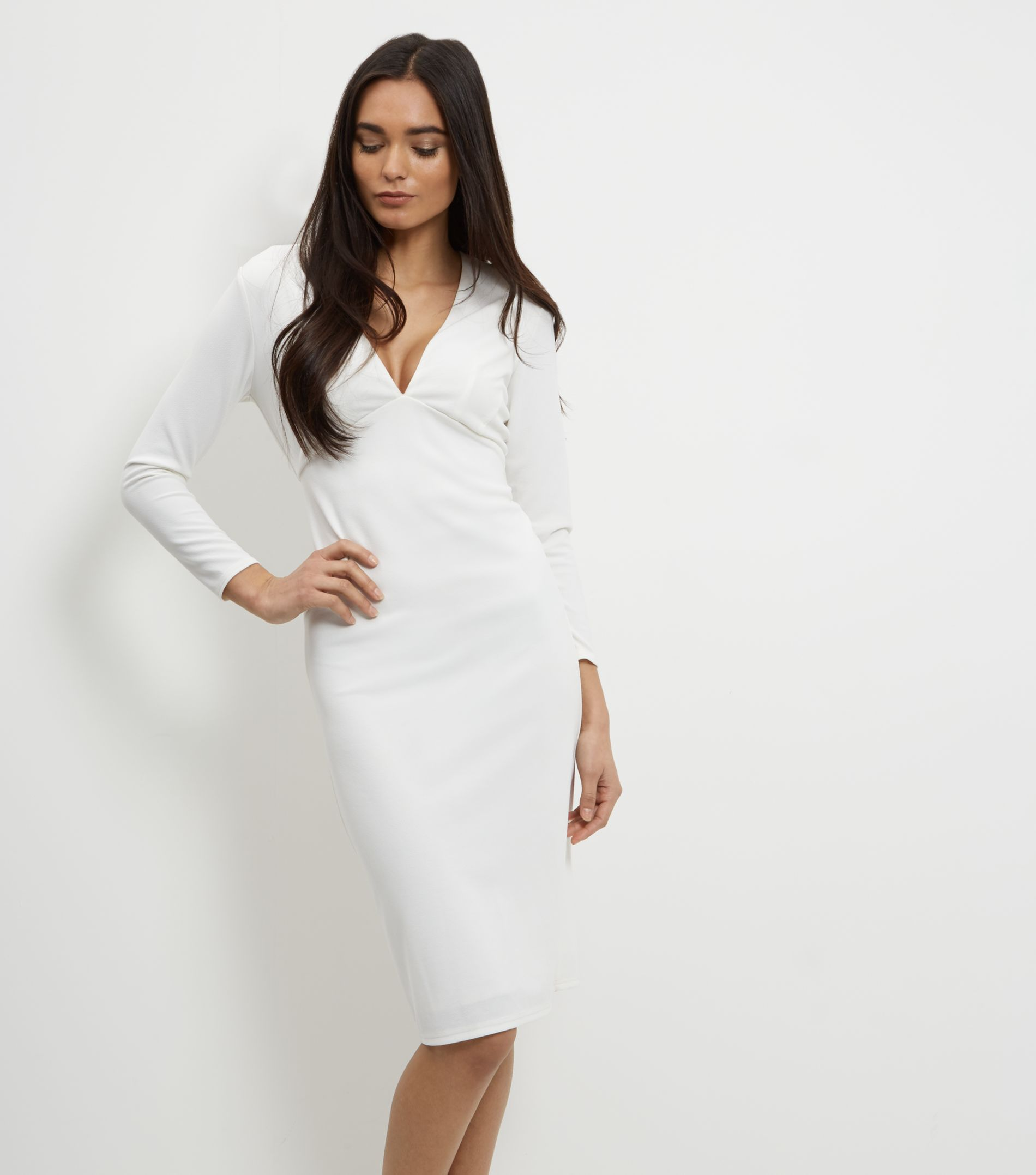 V Neck Long Sleeve Bodycon Dress
