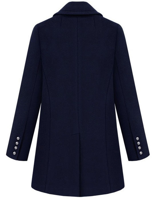 Navy Lapel Long Sleeve Metal Buttons Coat - Sheinside.com