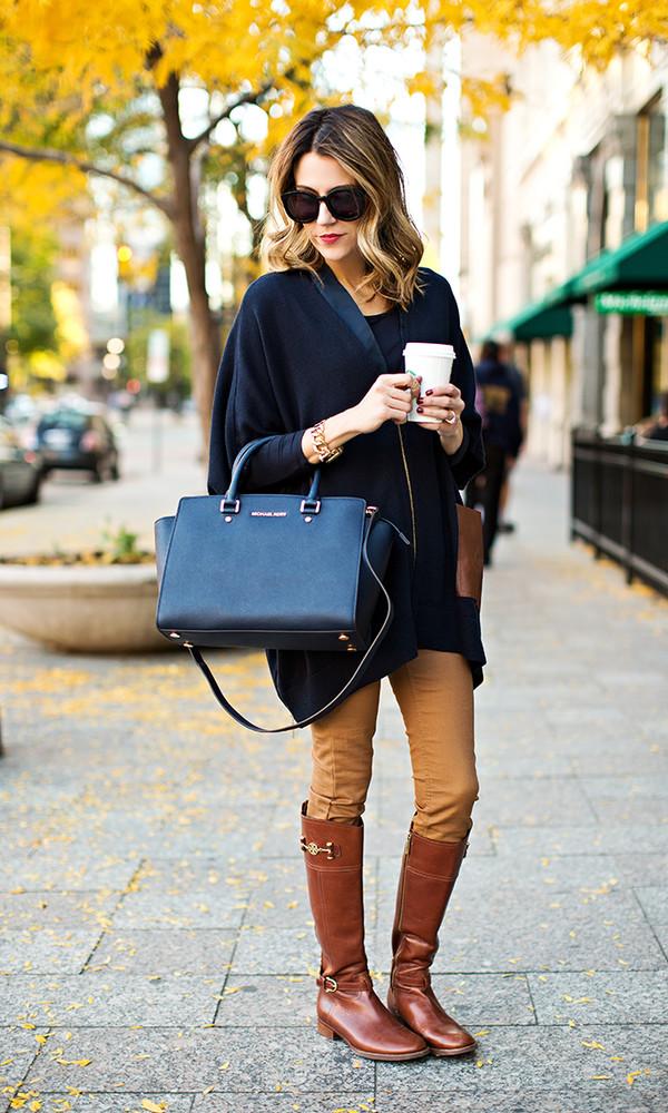 hello fashion blogger cardigan jewels bag sunglasses boots