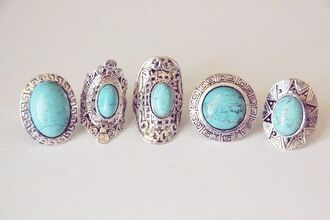 jewels ring turquoise turquoise ring stone boho boho chic love is in the air blue rings silver ring turquoise jewelry metal ring patterned rings