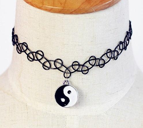 Yin Yang Tattoo Choker Necklace