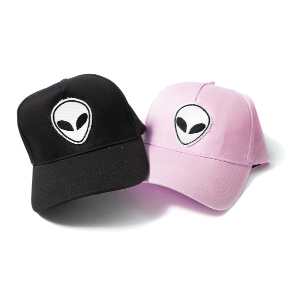 brandy melville alien patch baseball cap nostromo amazon dad trucker pastel pale grunge aesthetic hat hand sewn