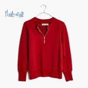 sweater,madewell,sweatshirt,distressed zip,red