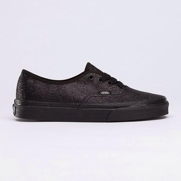 shoes vans vans all black everything black vans authentic stitch glitter