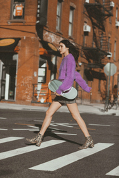 dylana suarez,blogger,sweater,skirt,shoes,fall outfits,purple sweater,ankle boots,mini skirt