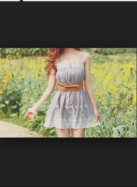 dress sky blue dress with tan belt belt hipster floral knee high grey dress summer dress mini dress