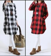 top,plaid shirtb,casual shirt b,casual,casual shirt,shirt dress,red,white,white shirt,red shirt,red plaid shirt b,plaid,oversized top,oversized shirt,long sleeve shirt,long sleeve dress,cotton,cotton shirt,cotton dress,asymmetrical shirt,blouse,dress,coat,28719