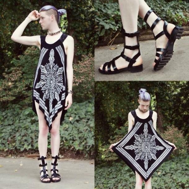 dress black dress bohemian