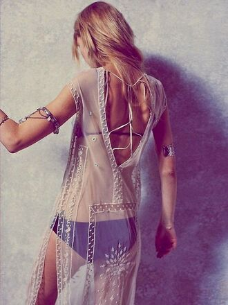dress beaded sheer sheer cover up cover up swim cover white white dress maxi see through cover up beach boho summer swimwear cover up maxi dress see through see through dress beach dress boho chic boho dress hippie hippie chic hippie dress summer outfits summer dress beaded dress