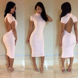 dress light pink open back knee length dress