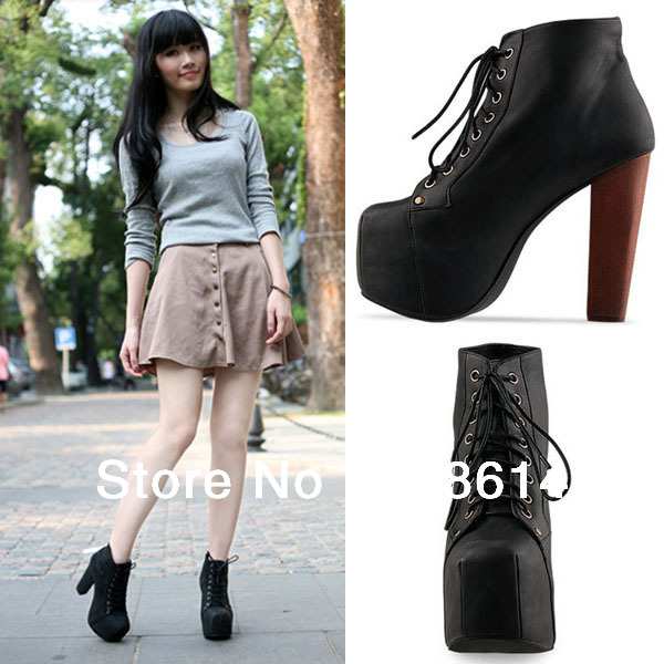 Free Shipping Fashion Women Ladies Lita Platforms High Heels Lace Up Ankle Shoes Boots US 6/6.5/7.5/8.5/9-in Boots from Shoes on Aliexpress.com | Alibaba Group
