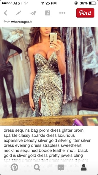 dress feathers prom dress sparkly dress sweetheart neckline slit pretty sexy dress silver dress gold dress jewels gown prom gown pageant elegant sparkle glitter diamonds long dress evening dress luxury style bodycon dress