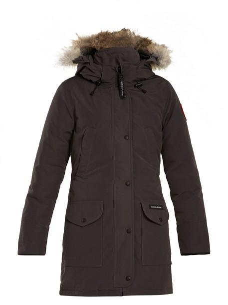 canada goose coat fur dark grey