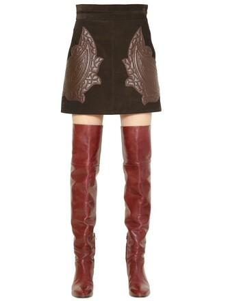 skirt suede skirt quilted leather suede brown