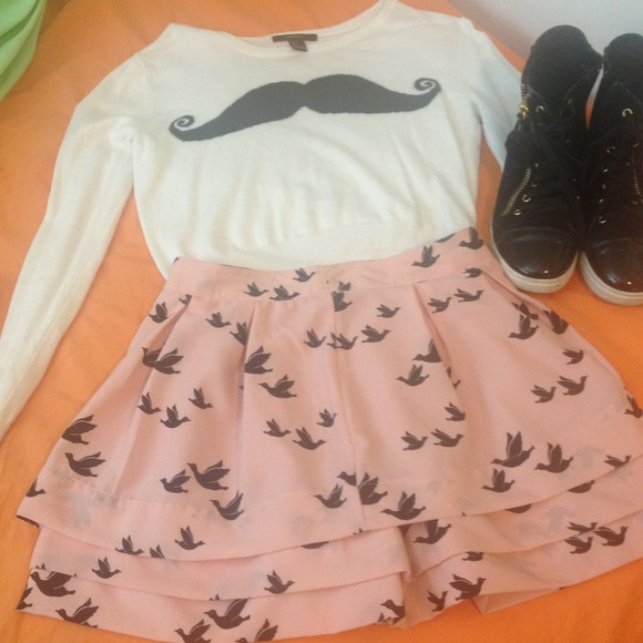 Forever 21 - Pink skirt with black birds from J