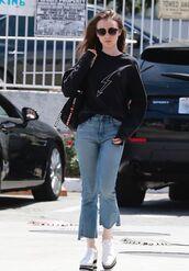 sweater,jeans,denim,sweatshirt,lily collins,streetstyle