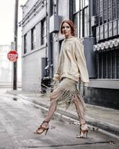 sweater,hoodie,oversized,mini skirt,tassel,sandals,high heel sandals