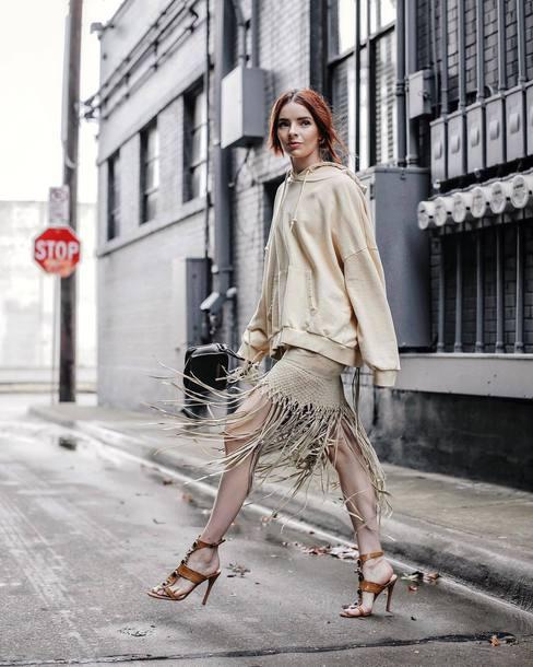 sweater hoodie oversized mini skirt tassel sandals high heel sandals
