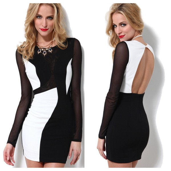 black dress white dress bodycon dress mini dress blackandwhitedress open back dresses