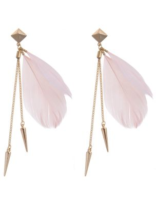 Pink Feather Spike Earrings