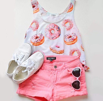 top shoes sneakers sunglasses fashion shorts summer blouse donut pink shorts pink short crop tops